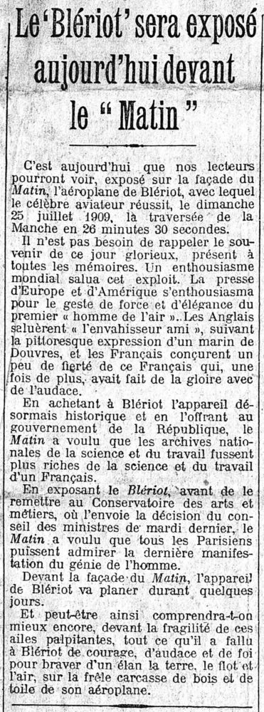 Journal Le Matin , 4 septembre 1909, Exposition du Blériot XI