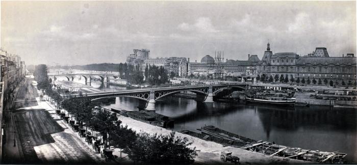 1865, Frédéric Martens, le Pont des Saints-Pères vue du quai Malaquais, Paris, France