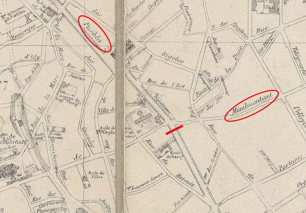 Extrait plan général de Paris et environs, 1876, Barricade du boulevard Puebla, Paris, Gallica