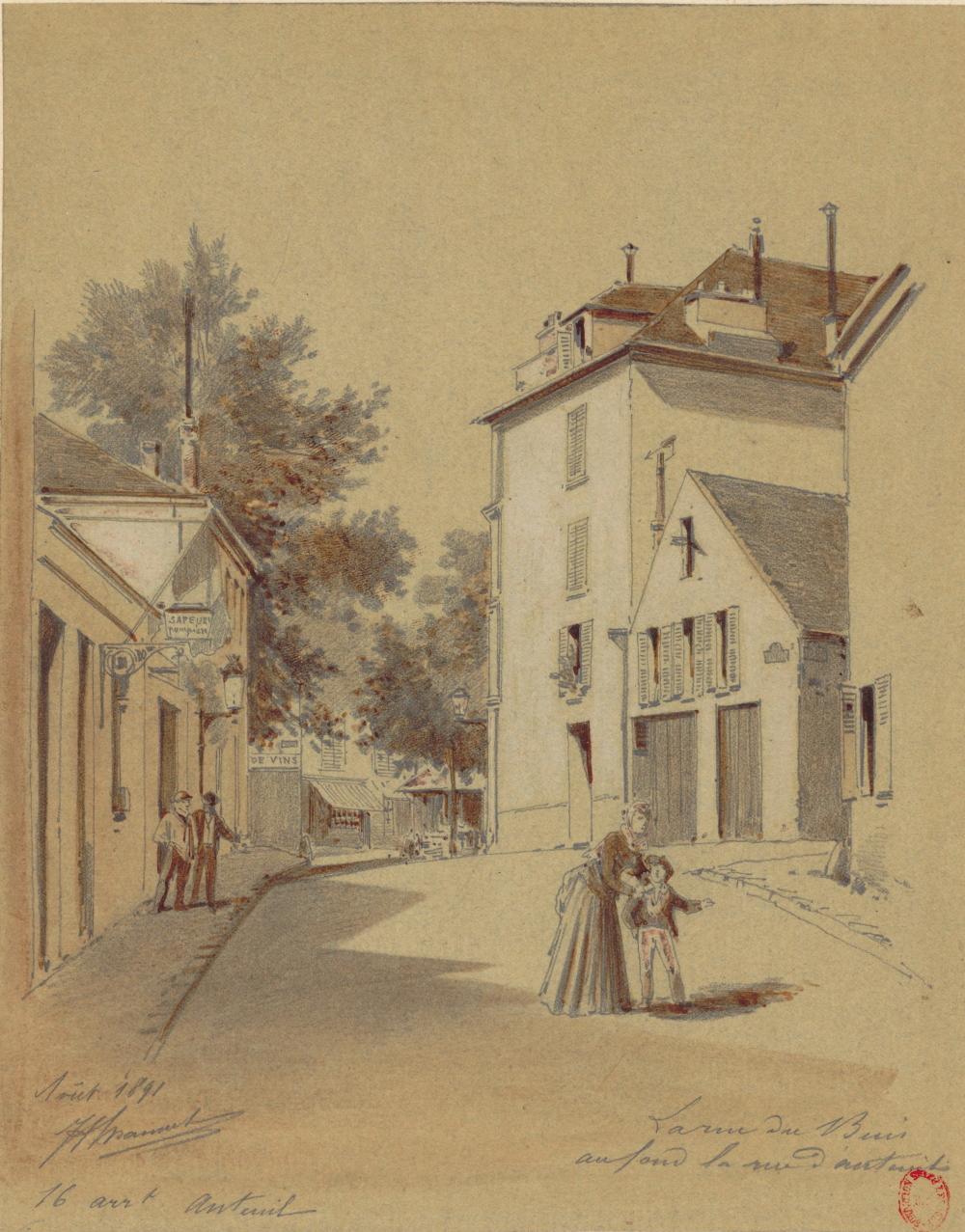 1891,Jules-Adolphe Chauvet,La rue du Buis, au fond la rue d'Auteuil,8, rue du Buis,Paris,France