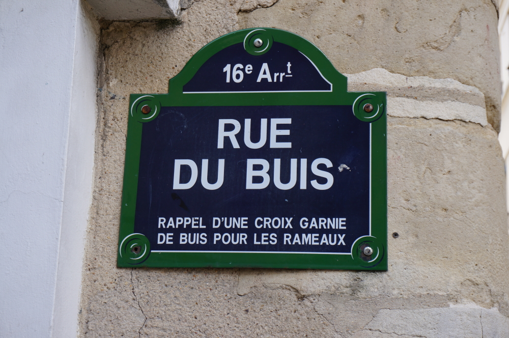plaque de rue, rue du Buis, 75016, Paris